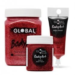 Red Glitter Face & BodyArt gel Paint Global Colours