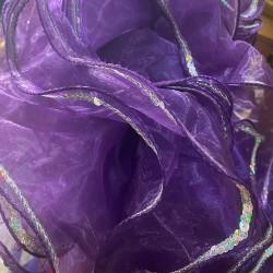 Mini Boa Dark Purple Crystal Organza 180cm with Silver Sequin Trim