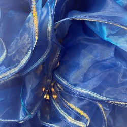 Mini Boa Royal Blue Crystal Organza 180cm with Silver Sequin Trim