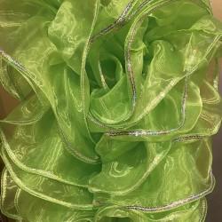 Mini Boa Lime Green Crystal Organza 180cm with Silver Sequin Trim