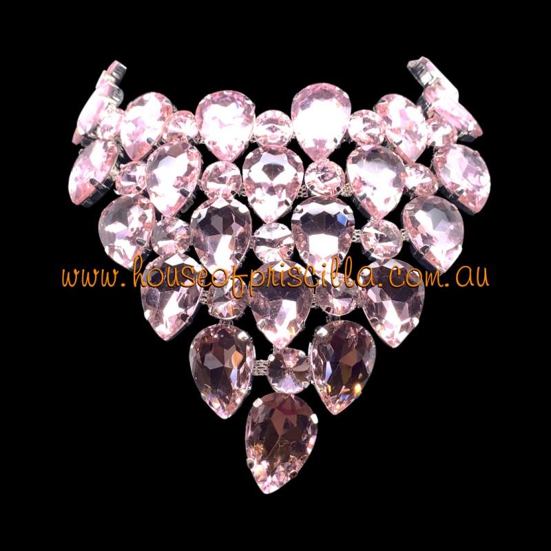 Light Pink Crystal Diamante Necklace 2