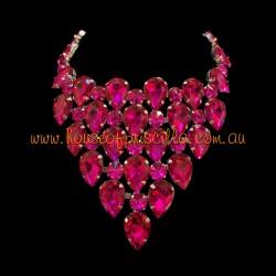 Hot Pink Crystal Diamante Necklace 2