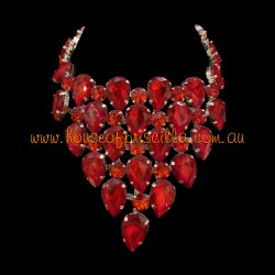Red Crystal Diamante Necklace 2