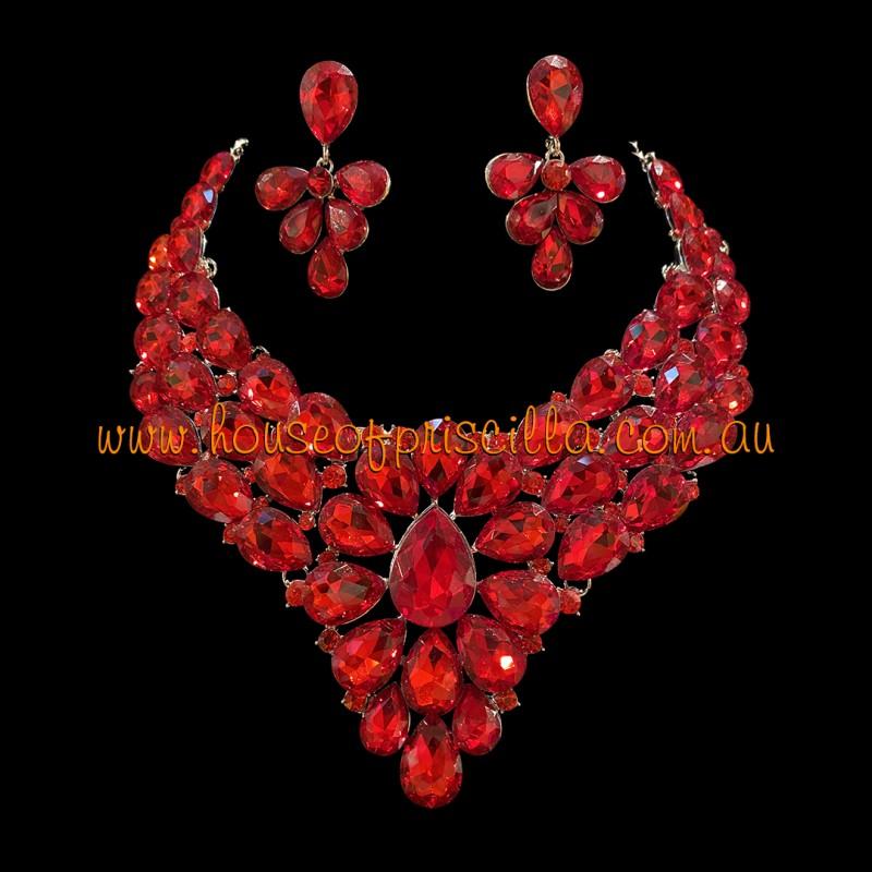 Red Crystal Diamante Jewellery Set 1