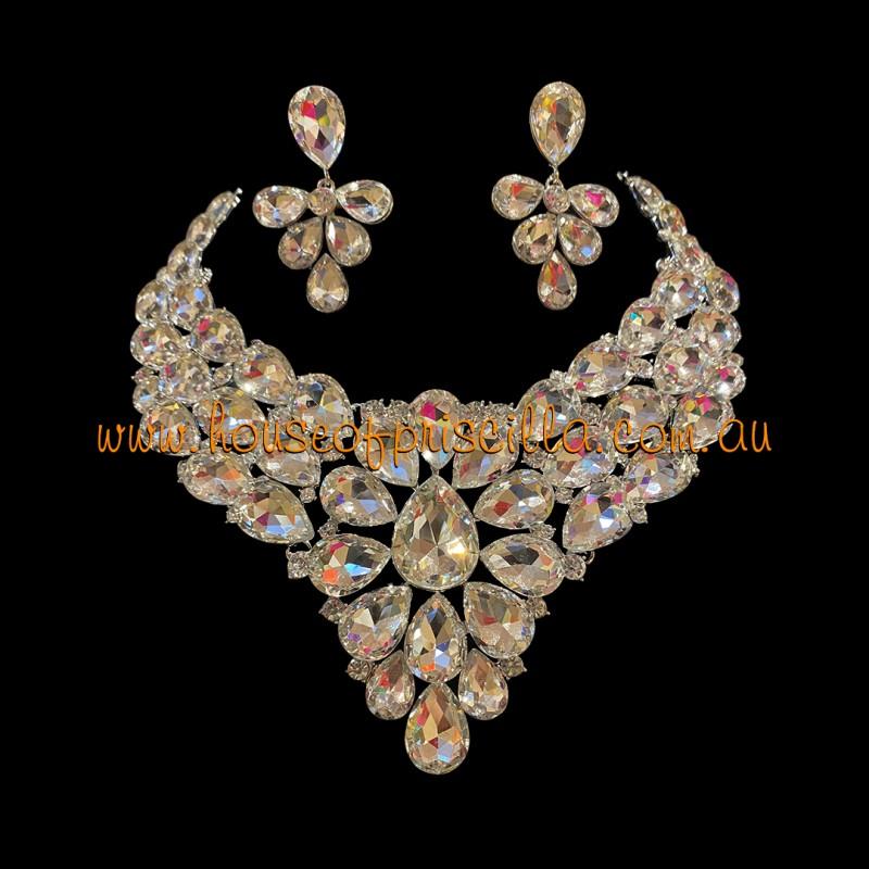 Clear Crystal Diamante Jewellery Set 1