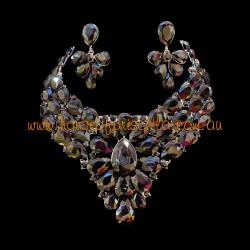 Black Crystal Diamante Jewellery Set 1