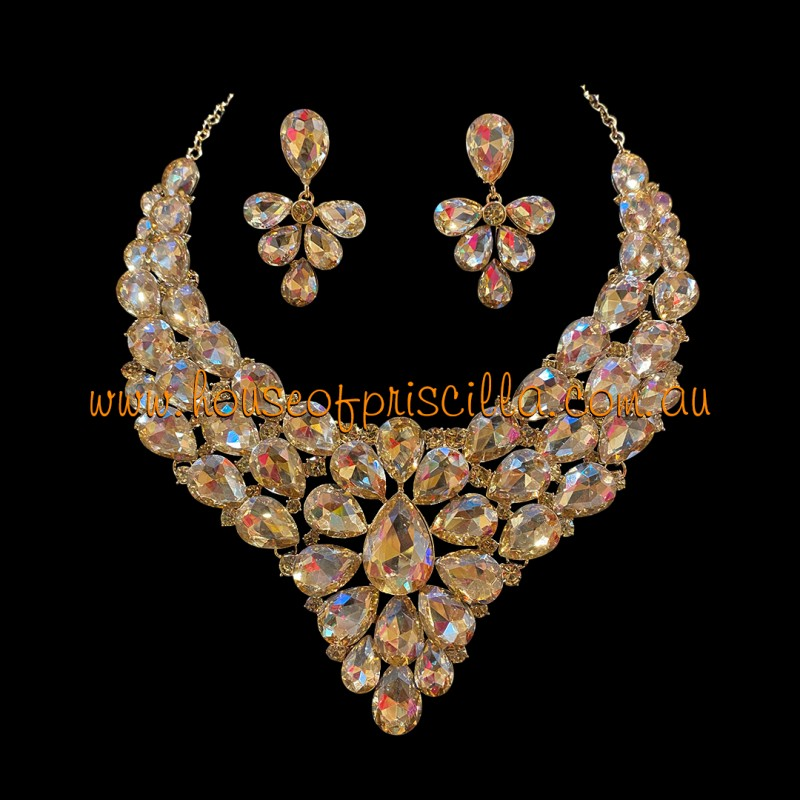 Gold Crystal Diamante Jewellery Set 1