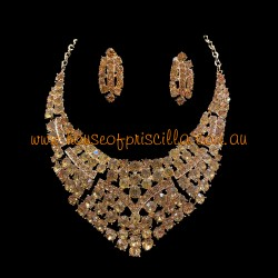 Gold Crystal Diamante Jewellery Set 2