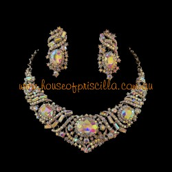 Aurora Borealis Crystal Diamante Jewellery Set 3