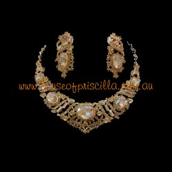 Gold Crystal Diamante Jewellery Set 3