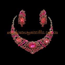 Hot Pink Crystal Diamante Jewellery Set 3