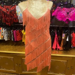 Stretch Sequin Dress with Fringing Apricot
