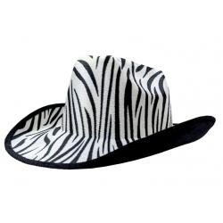 Carnival Style Cowboy Hat Zebra Print