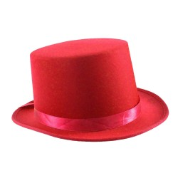 Satin Top Hat with Sash Red