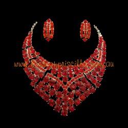 Red Crystal Diamante Jewellery Set 2