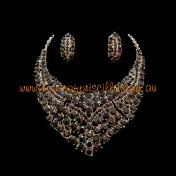 Black Crystal Diamante Jewellery Set 2