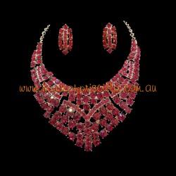 Hot Pink Crystal Diamante Jewellery Set 2