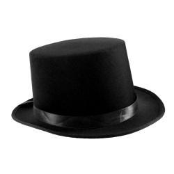Satin Top Hat with Sash Black
