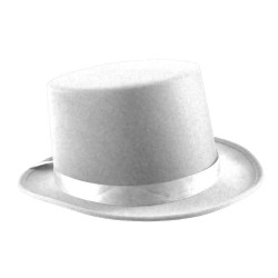 Satin Top Hat with Sash White