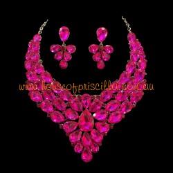 Hot Pink Crystal Diamante Jewellery Set 1