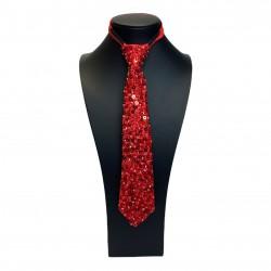 Sequin Tie Red
