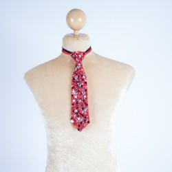 Sequin Tie Red & Silver