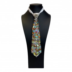 Jewelled Tie White with Aurora Borealis Stones