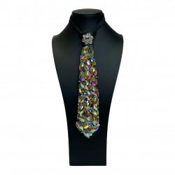 Jewelled Tie Black with Aurora Borealis Stones