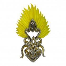 Gold & Yellow Cherry Mini Showgirl Feathered Headpiece