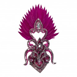 Hot Pink & Silver Cherry mini Showgirl Feathered Headpiece