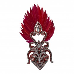 Red & Silver Cherry Mini Showgirl Feathered Headpiece