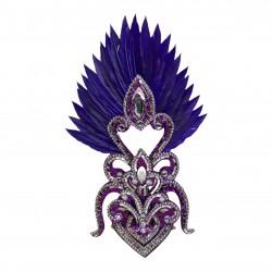 Silver & Purple Cherry Mini Showgirl Feathered Headpiece