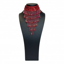 Sequin Choker with Beaded Fringe Red