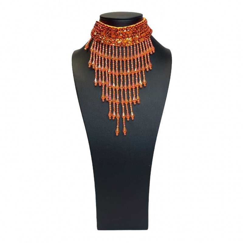 Orange Sequin Choker with Beaded Fringe