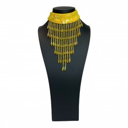 Sequin Choker with Beaded Fringe Yellow