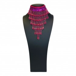 Sequin Choker with Beaded Fringe Hot Pink