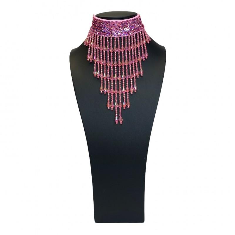 Sequin Choker with Beaded Fringe Light Pink
