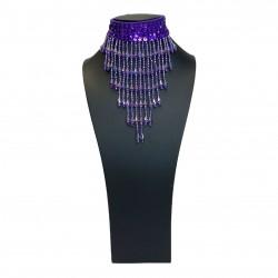 Sequin Choker with Beaded Fringe Dark Purple