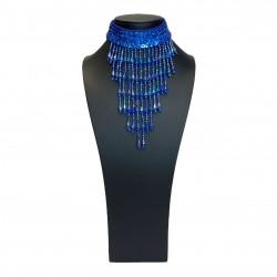 Royal Blue Sequin Choker with Beaded Fringe