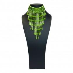 Sequin Choker with Beaded Fringe Dark Green