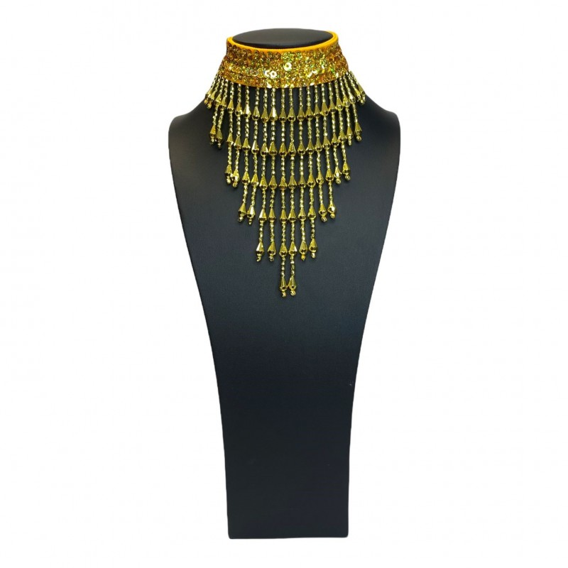 Gold Sequin Choker with Beaded Fringe