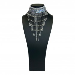 Silver Sequin Choker with Beaded Fringe