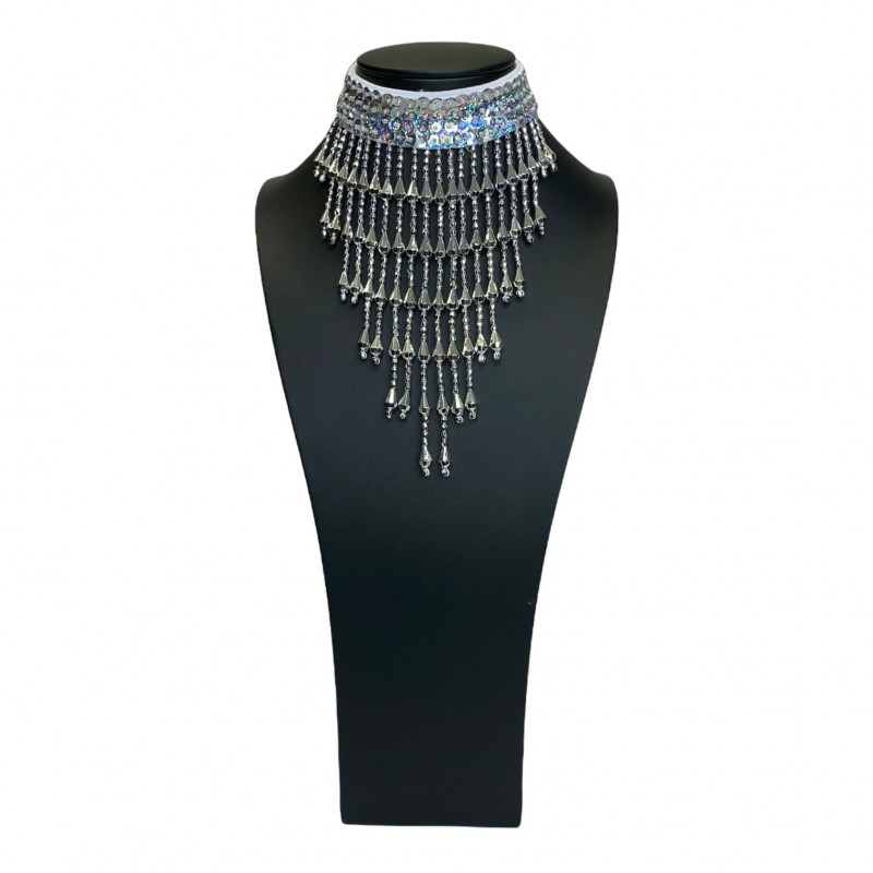 Sequin Choker with Beaded Fringe Silver