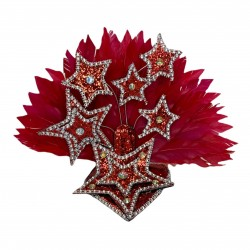 Red Star Mini Showgirl Feathered Headpiece