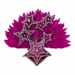 Hot Pink Star Mini Showgirl Feathered Headpiece
