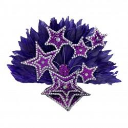 Dark Purple Star Mini Showgirl Feathered Headpiece