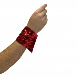 Long Sequin Cuff Red