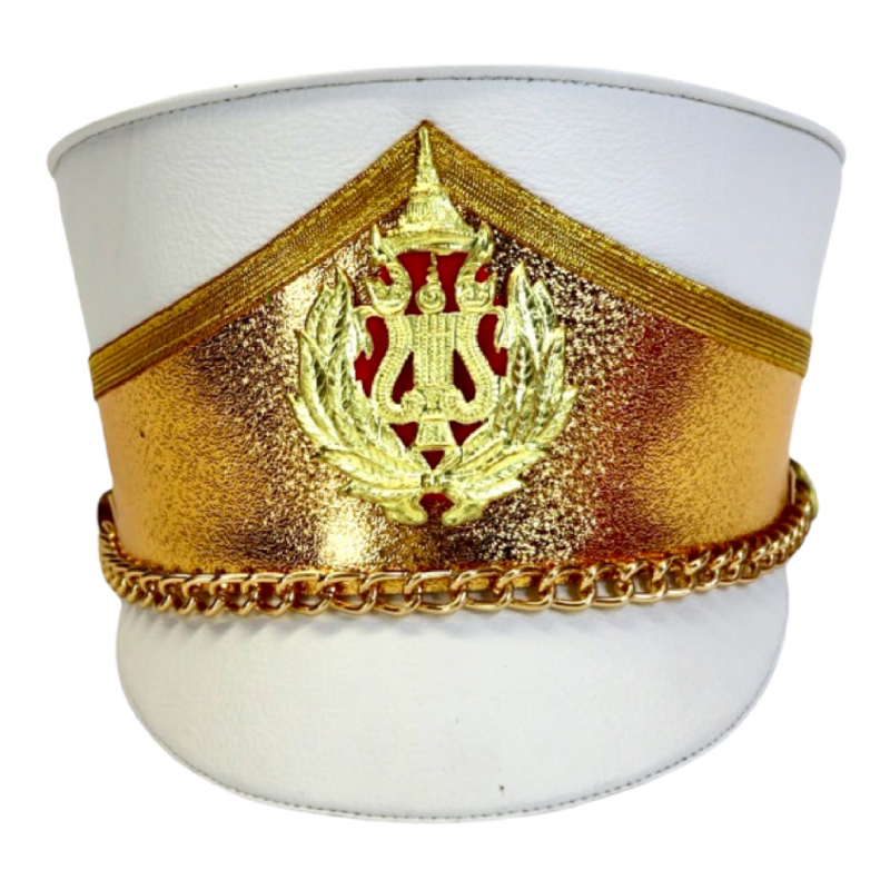 Deluxe Marching Band Hat Gold and White