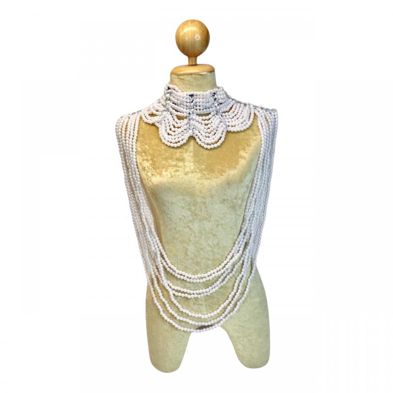 Large Plastic Beaded Choker White Pearl