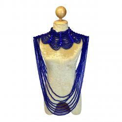 Large Plastic Beaded Choker Royal Blue